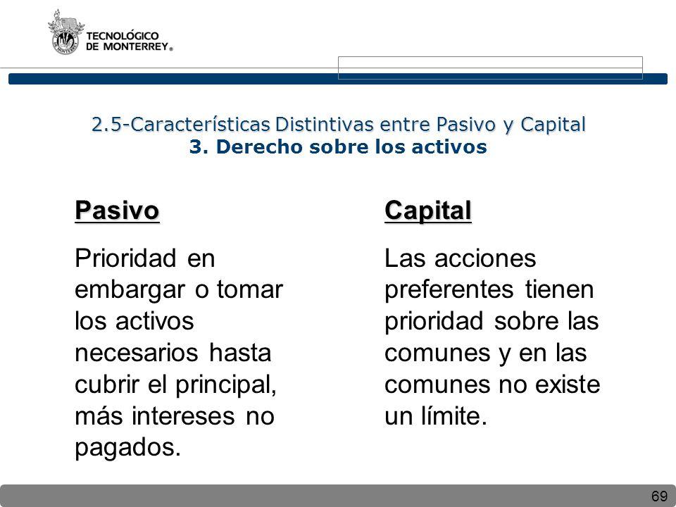 69 2.5-Características Distintivas entre Pasivo y Capital 2.5-Características Distintivas entre Pasivo y Capital 3. Derecho sobre los activos Pasivo P