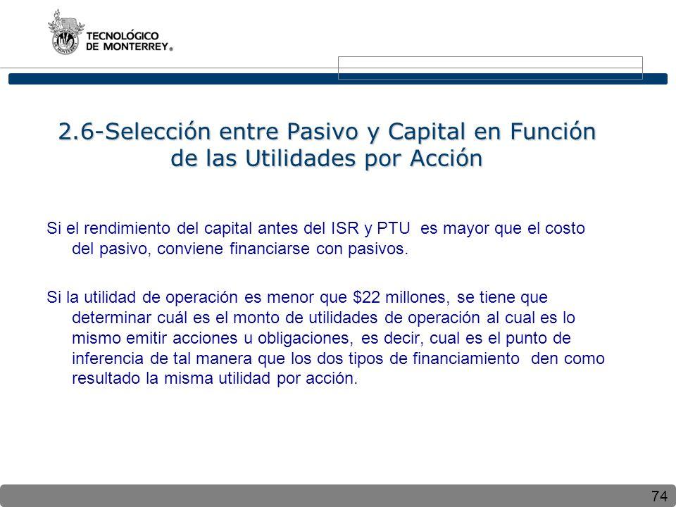 74 2.6-Selección entre Pasivo y Capital en Función de las Utilidades por Acción Si el rendimiento del capital antes del ISR y PTU es mayor que el costo del pasivo, conviene financiarse con pasivos.