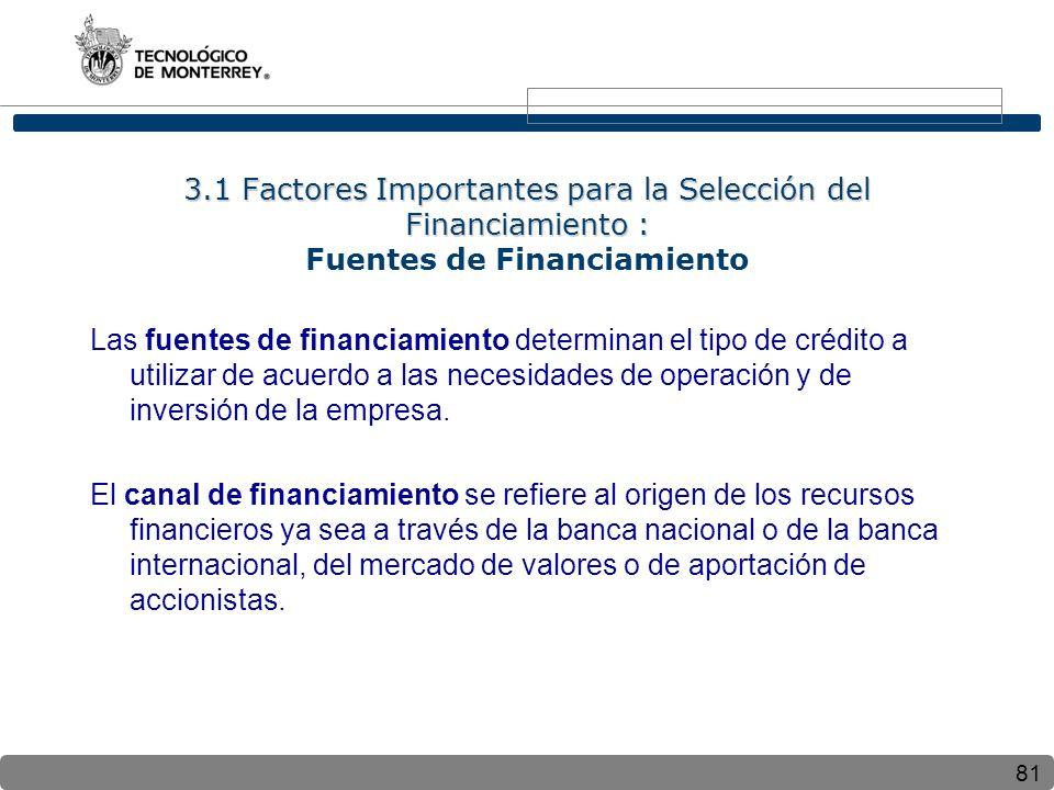 81 3.1 Factores Importantes para la Selección del Financiamiento : 3.1 Factores Importantes para la Selección del Financiamiento : Fuentes de Financiamiento Las fuentes de financiamiento determinan el tipo de crédito a utilizar de acuerdo a las necesidades de operación y de inversión de la empresa.