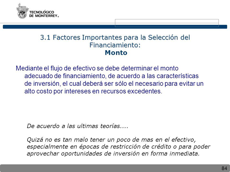84 3.1 Factores Importantes para la Selección del Financiamiento: 3.1 Factores Importantes para la Selección del Financiamiento: Monto Mediante el flu