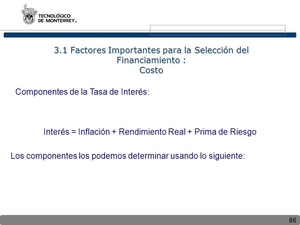86 Componentes de la Tasa de Interés: Interés = Inflación + Rendimiento Real + Prima de Riesgo Los componentes los podemos determinar usando lo siguiente: 3.1 Factores Importantes para la Selección del Financiamiento : Costo
