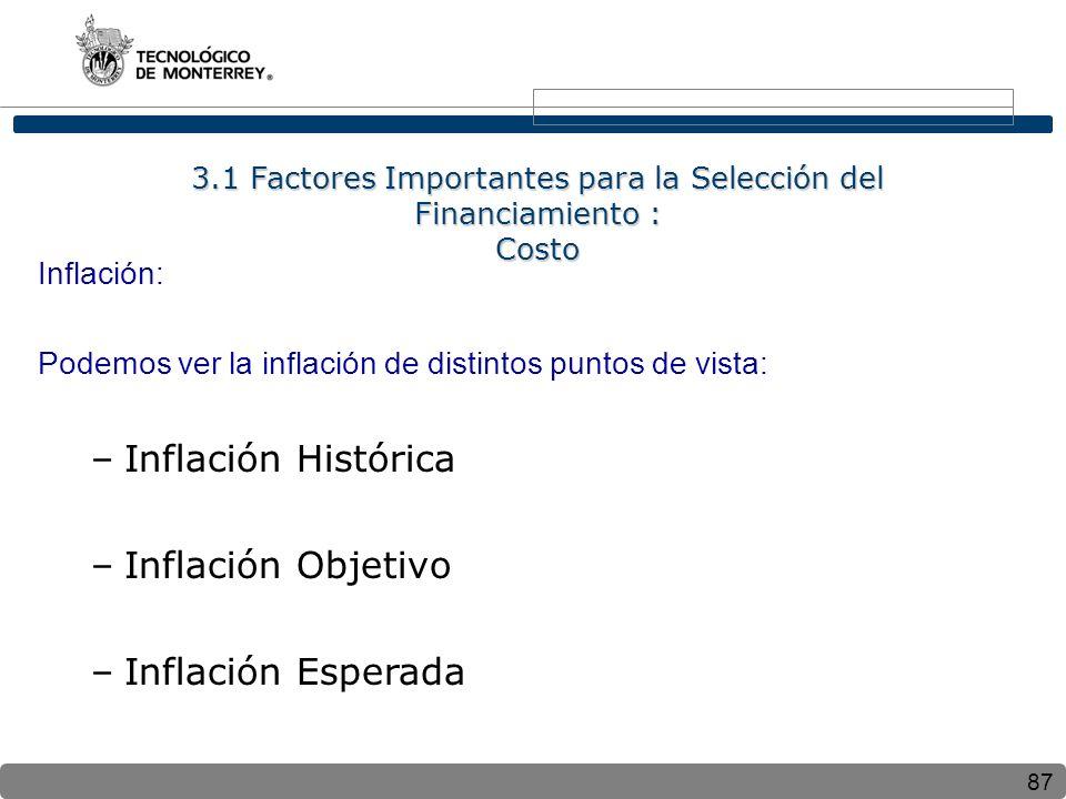 87 Inflación: Podemos ver la inflación de distintos puntos de vista: –Inflación Histórica –Inflación Objetivo –Inflación Esperada 3.1 Factores Importantes para la Selección del Financiamiento : Costo