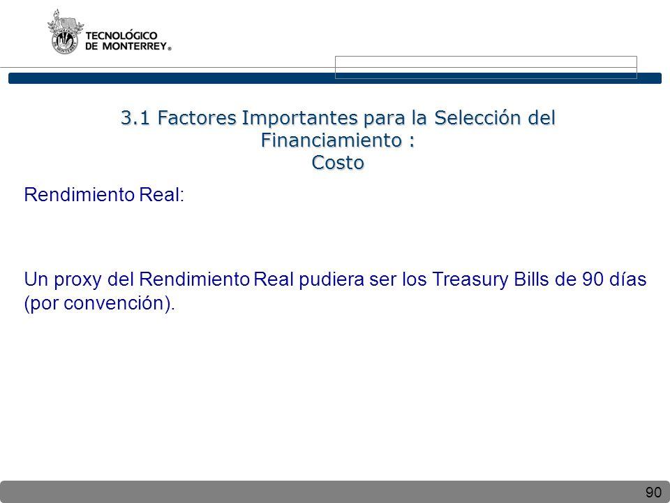 90 Rendimiento Real: Un proxy del Rendimiento Real pudiera ser los Treasury Bills de 90 días (por convención). 3.1 Factores Importantes para la Selecc