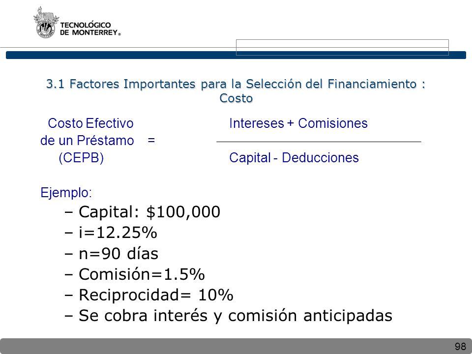 98 3.1 Factores Importantes para la Selección del Financiamiento : Costo Costo Efectivo Intereses + Comisiones de un Préstamo = (CEPB) Capital - Deducciones Ejemplo: –Capital: $100,000 –i=12.25% –n=90 días –Comisión=1.5% –Reciprocidad= 10% –Se cobra interés y comisión anticipadas