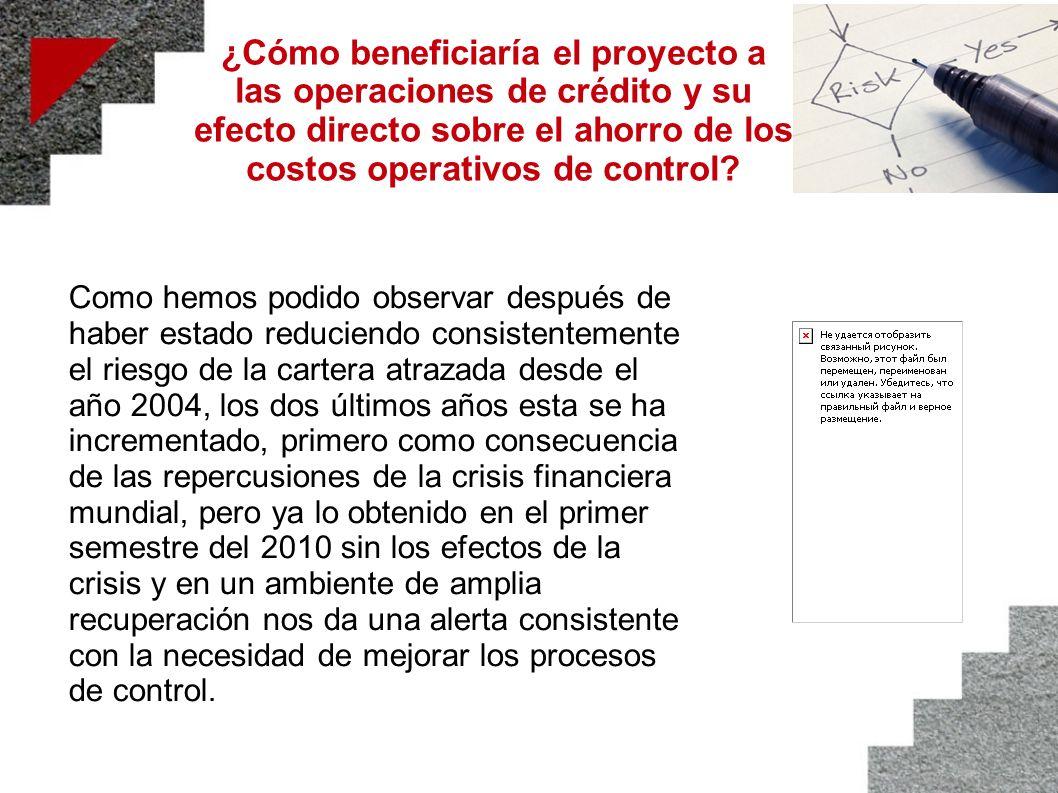 ¿Cómo beneficiaría el proyecto a las operaciones de crédito y su efecto directo sobre el ahorro de los costos operativos de control? Como hemos podido