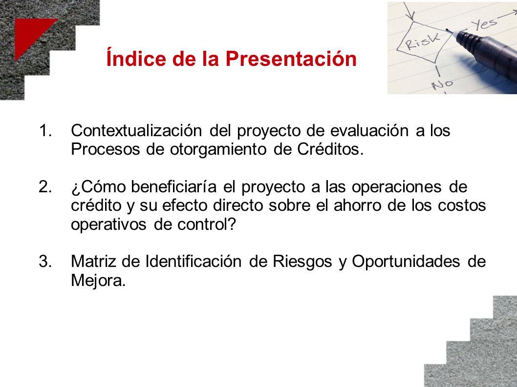 Índice de la Presentación 1.Contextualización del proyecto de evaluación a los Procesos de otorgamiento de Créditos. 2.¿Cómo beneficiaría el proyecto