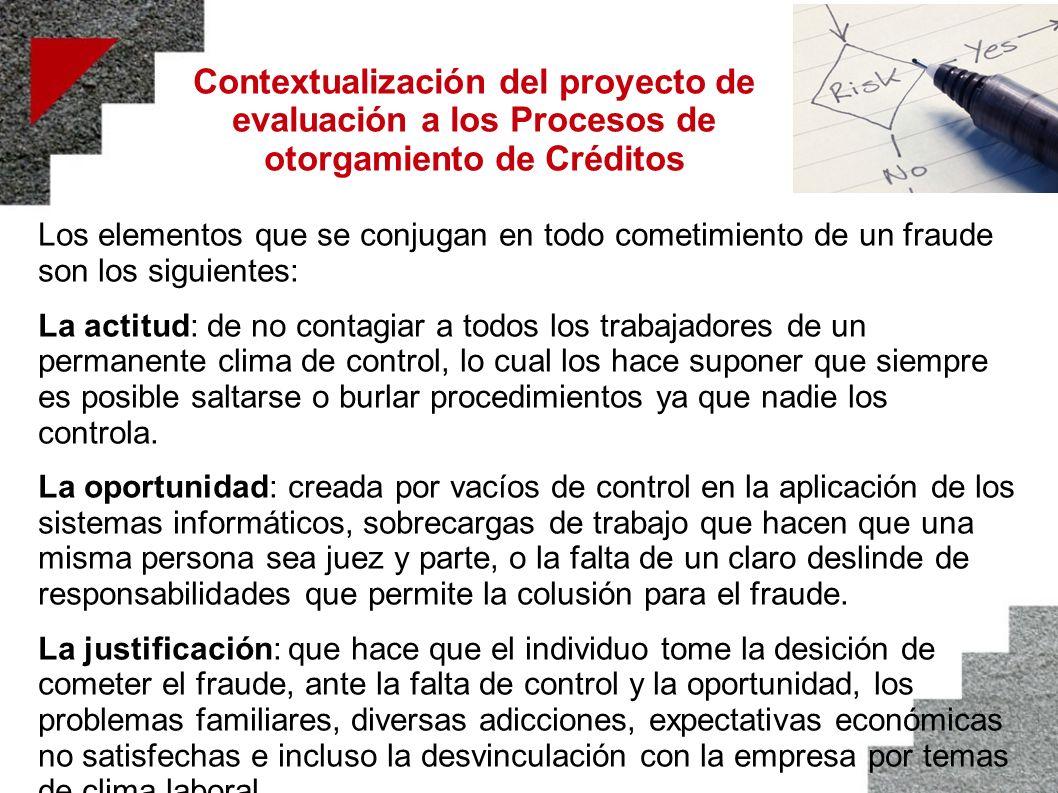 Contextualización del proyecto de evaluación a los Procesos de otorgamiento de Créditos Los elementos que se conjugan en todo cometimiento de un fraud