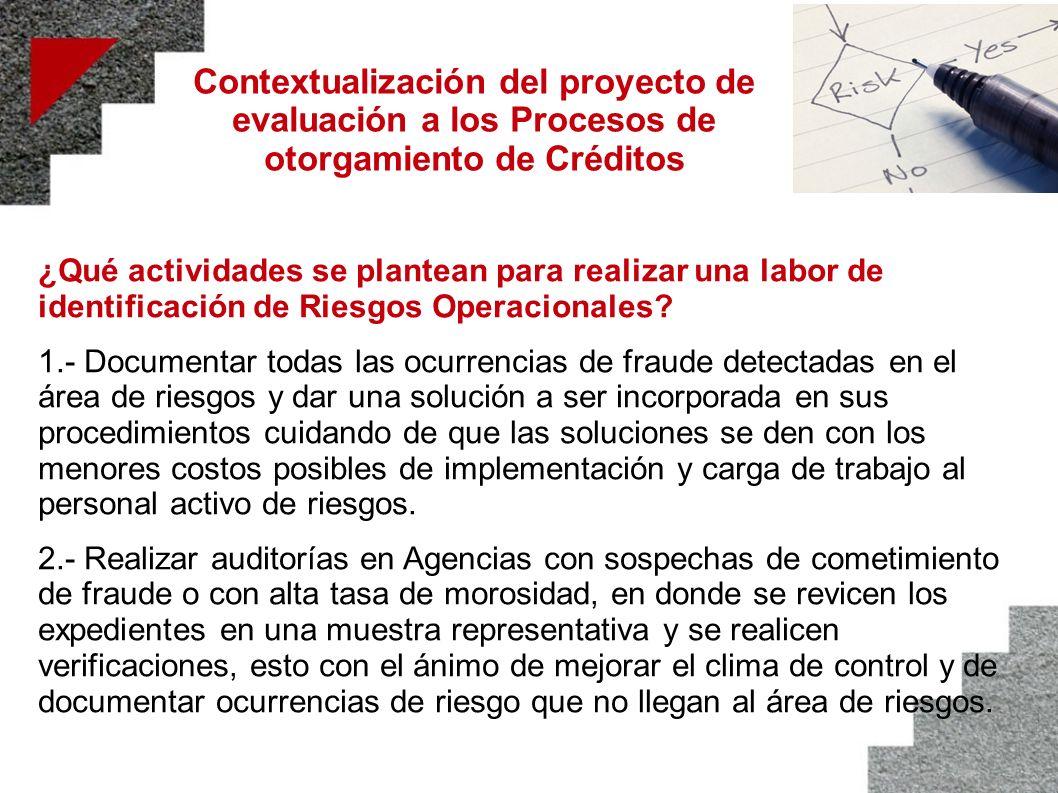 Contextualización del proyecto de evaluación a los Procesos de otorgamiento de Créditos ¿Qué actividades se plantean para realizar una labor de identi