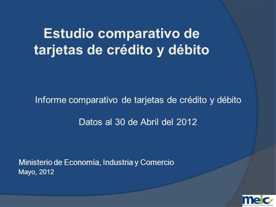 Decreto ejecutivo N°35867-MEIC 30 de marzo del 2010 Se establece la obligatoriedad del MEIC de llevar a cabo un estudio comparativo trimestral de cuentas que se manejan por medio de tarjetas de crédito y débito.