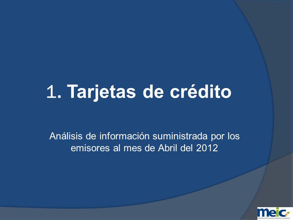 Clasificación de tarjetas de crédito de menor tasa de interés corriente anual en colones a Abril 2012 Nota: No incluye tarjetas de uso o con acceso restringido