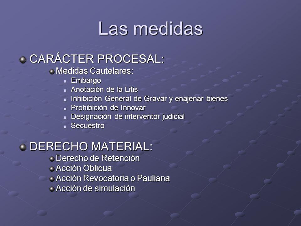 Las medidas CARÁCTER PROCESAL: Medidas Cautelares: Embargo Embargo Anotación de la Litis Anotación de la Litis Inhibición General de Gravar y enajenar