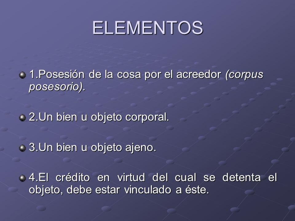 ELEMENTOS 1.Posesión de la cosa por el acreedor (corpus posesorio). 2.Un bien u objeto corporal. 3.Un bien u objeto ajeno. 4.El crédito en virtud del