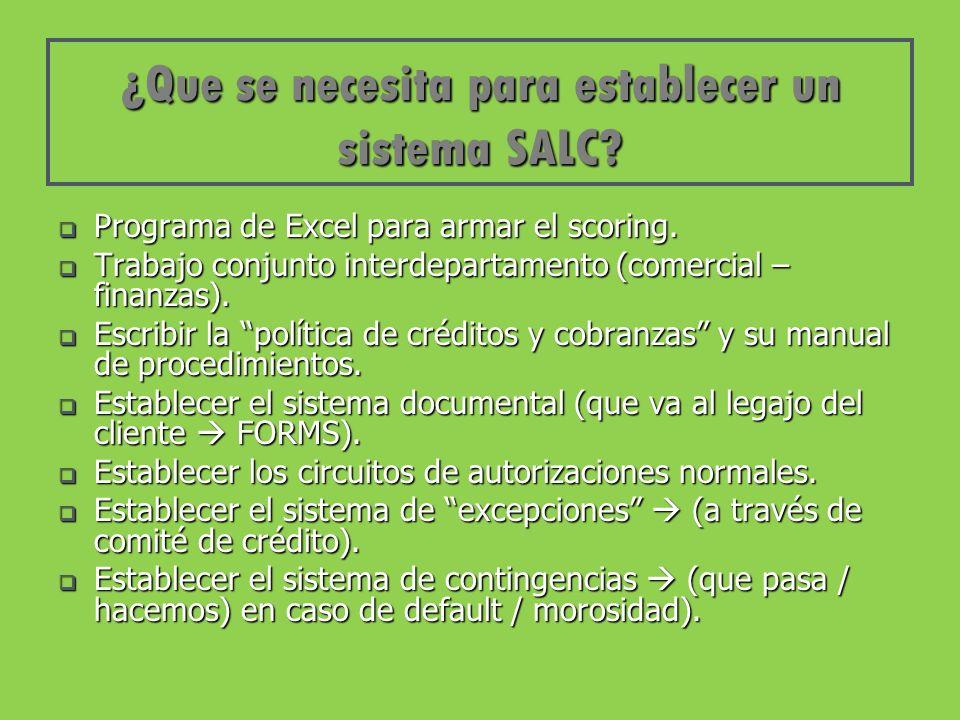 ¿Que se necesita para establecer un sistema SALC. Programa de Excel para armar el scoring.