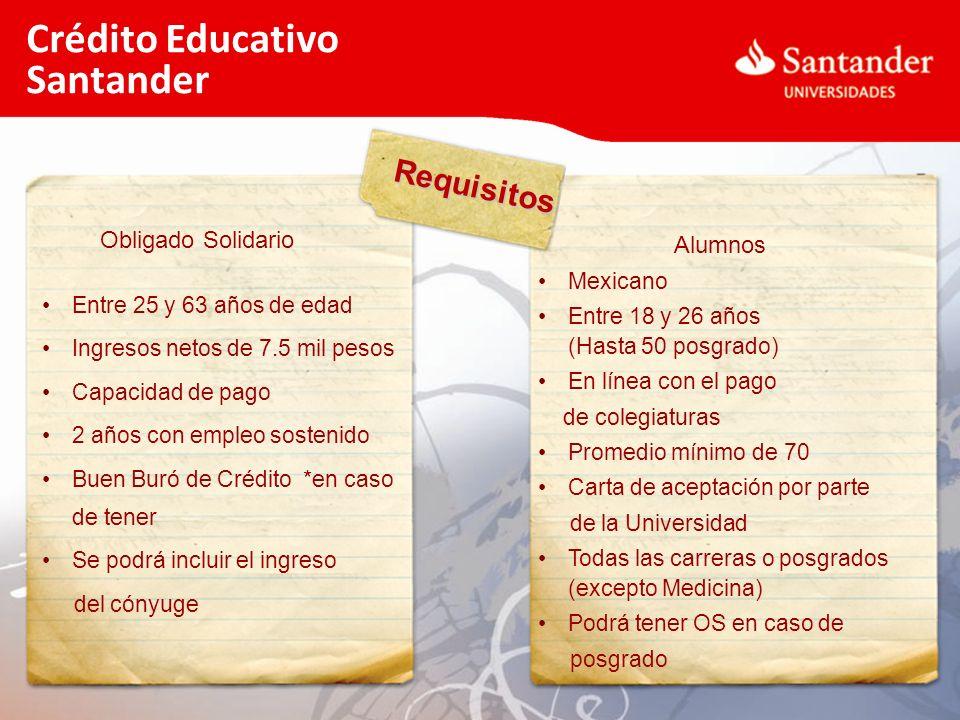 Requisitos Crédito Educativo Santander Obligado Solidario Entre 25 y 63 años de edad Ingresos netos de 7.5 mil pesos Capacidad de pago 2 años con empl