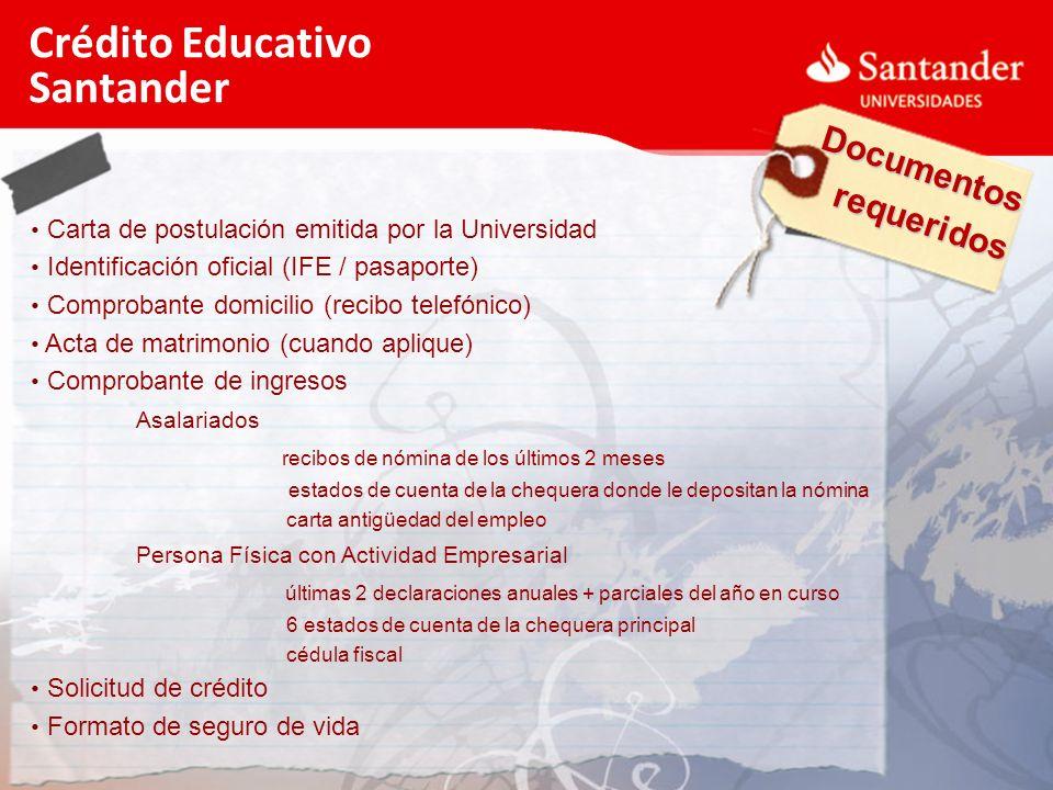 Documentos requeridos Crédito Educativo Santander Carta de postulación emitida por la Universidad Identificación oficial (IFE / pasaporte) Comprobante