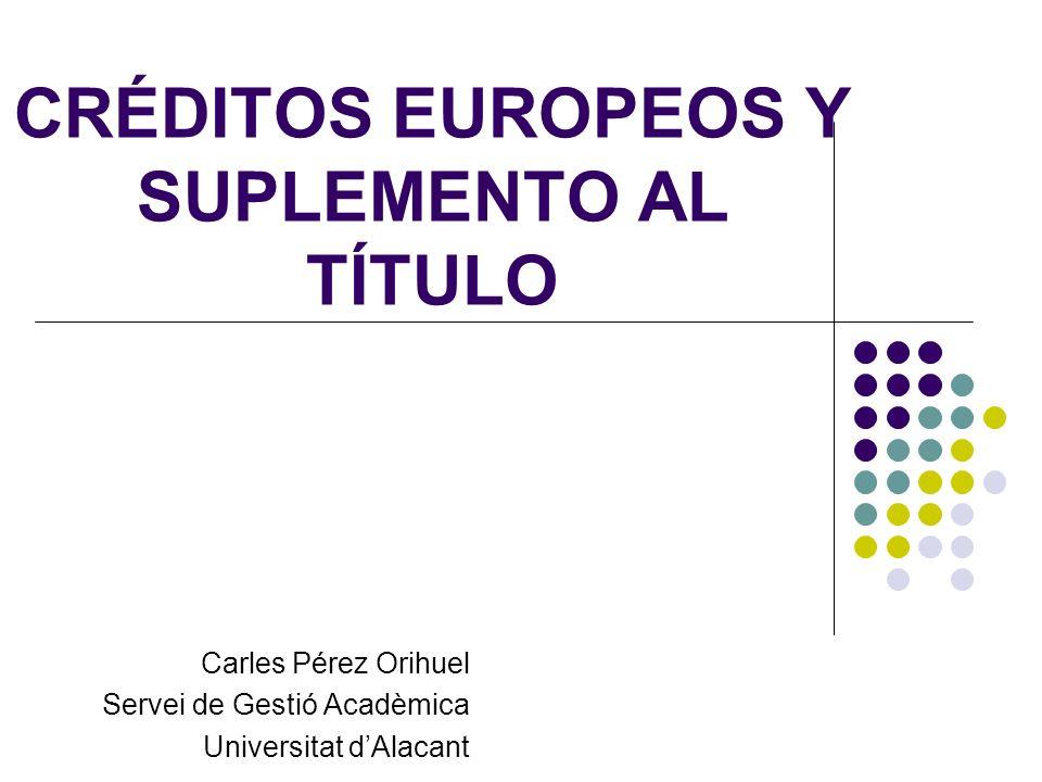 CRÉDITOS EUROPEOS Y SUPLEMENTO AL TÍTULO Carles Pérez Orihuel Servei de Gestió Acadèmica Universitat dAlacant