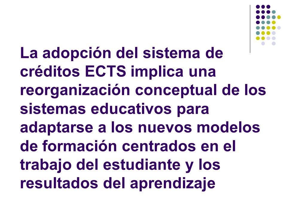 La adopción del sistema de créditos ECTS implica una reorganización conceptual de los sistemas educativos para adaptarse a los nuevos modelos de formación centrados en el trabajo del estudiante y los resultados del aprendizaje