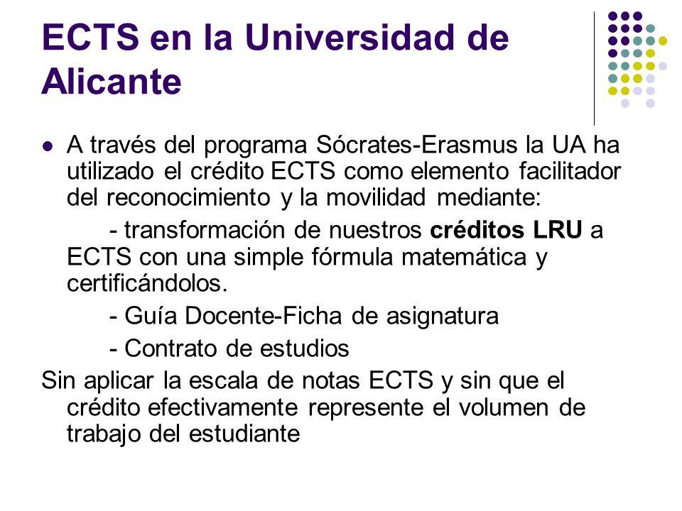 ECTS en la Universidad de Alicante A través del programa Sócrates-Erasmus la UA ha utilizado el crédito ECTS como elemento facilitador del reconocimiento y la movilidad mediante: - transformación de nuestros créditos LRU a ECTS con una simple fórmula matemática y certificándolos.