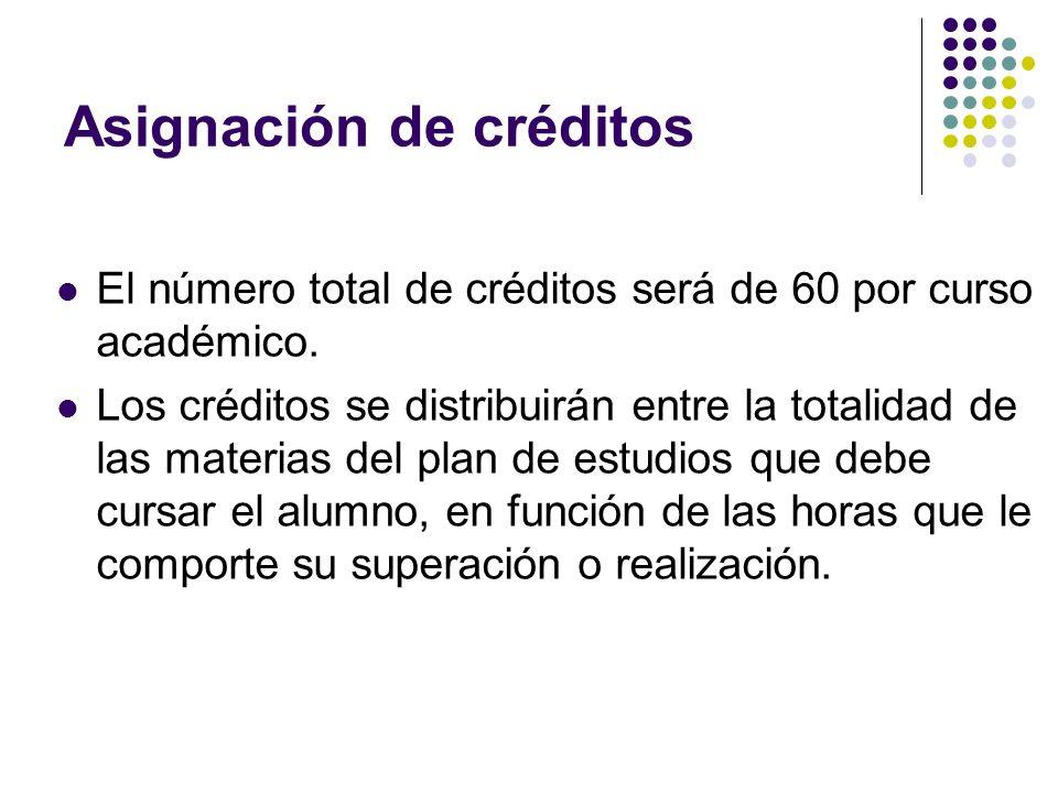 Asignación de créditos El número total de créditos será de 60 por curso académico.