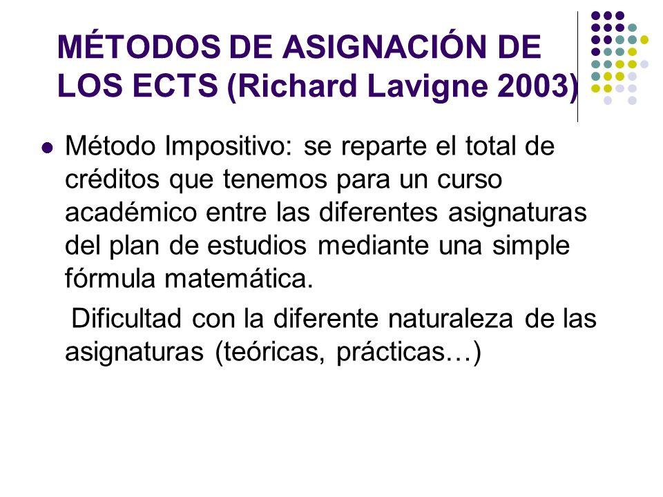 MÉTODOS DE ASIGNACIÓN DE LOS ECTS (Richard Lavigne 2003) Método Impositivo: se reparte el total de créditos que tenemos para un curso académico entre las diferentes asignaturas del plan de estudios mediante una simple fórmula matemática.