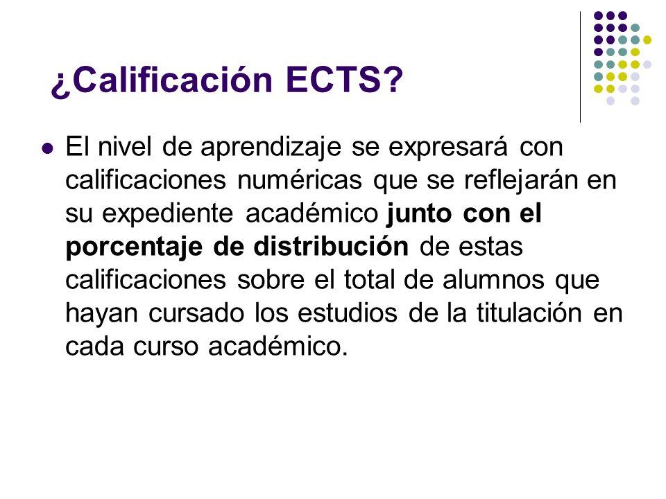 ¿Calificación ECTS.