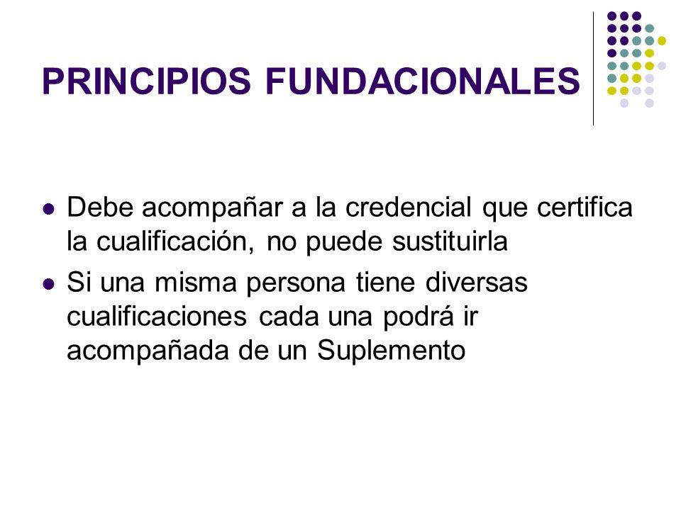 PRINCIPIOS FUNDACIONALES Debe acompañar a la credencial que certifica la cualificación, no puede sustituirla Si una misma persona tiene diversas cualificaciones cada una podrá ir acompañada de un Suplemento