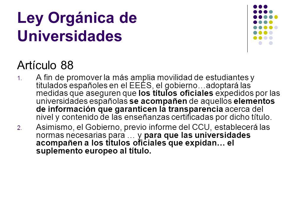 Ley Orgánica de Universidades Artículo 88 1.
