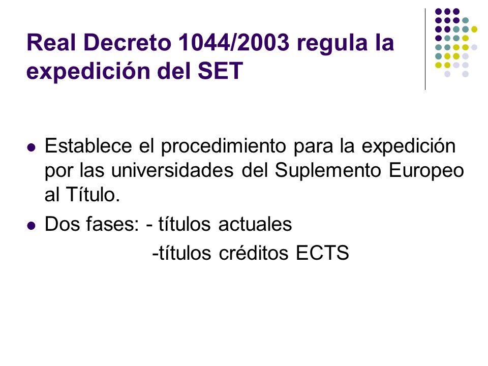 Real Decreto 1044/2003 regula la expedición del SET Establece el procedimiento para la expedición por las universidades del Suplemento Europeo al Título.