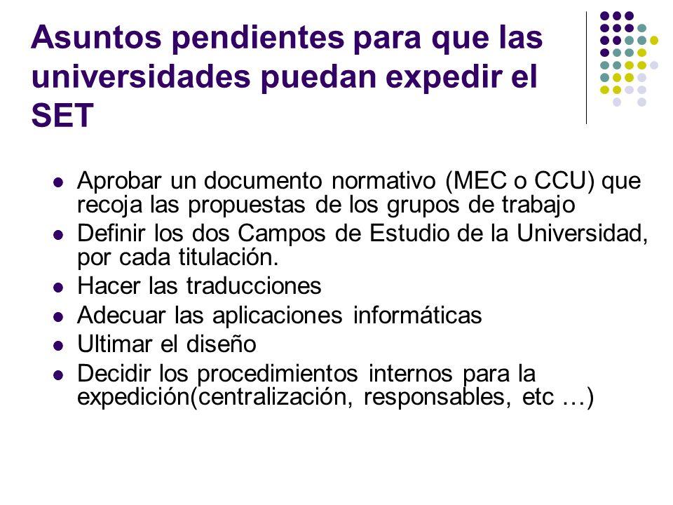 Asuntos pendientes para que las universidades puedan expedir el SET Aprobar un documento normativo (MEC o CCU) que recoja las propuestas de los grupos de trabajo Definir los dos Campos de Estudio de la Universidad, por cada titulación.