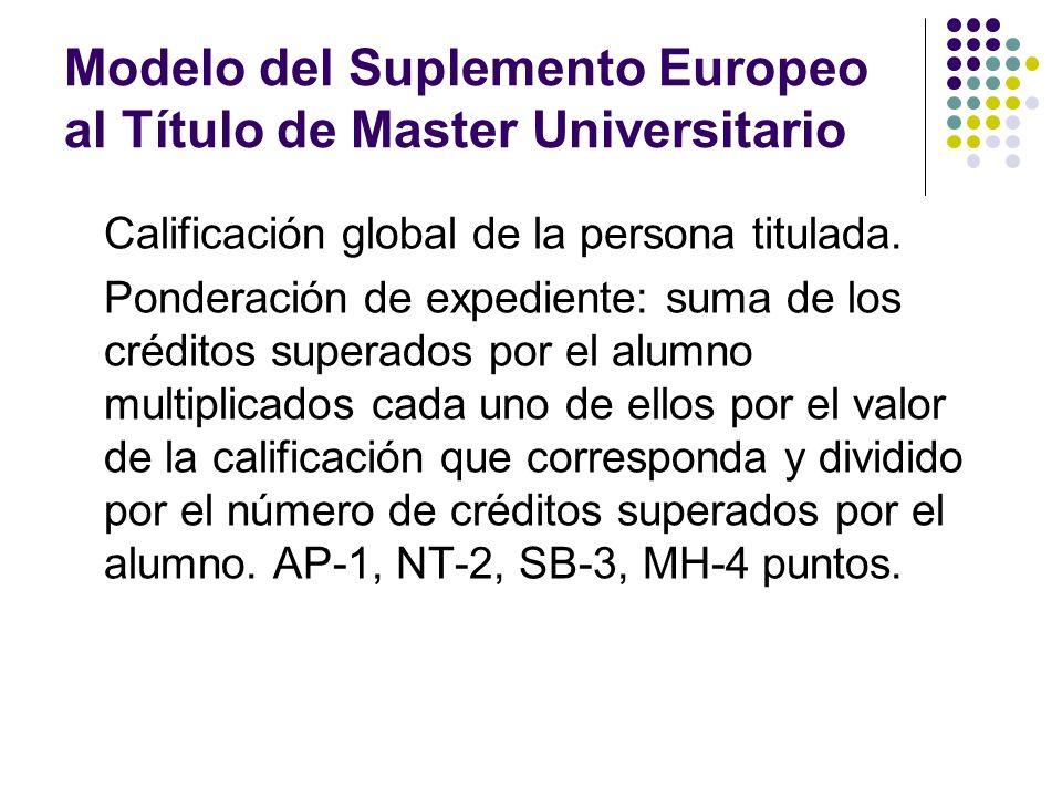 Modelo del Suplemento Europeo al Título de Master Universitario Calificación global de la persona titulada.