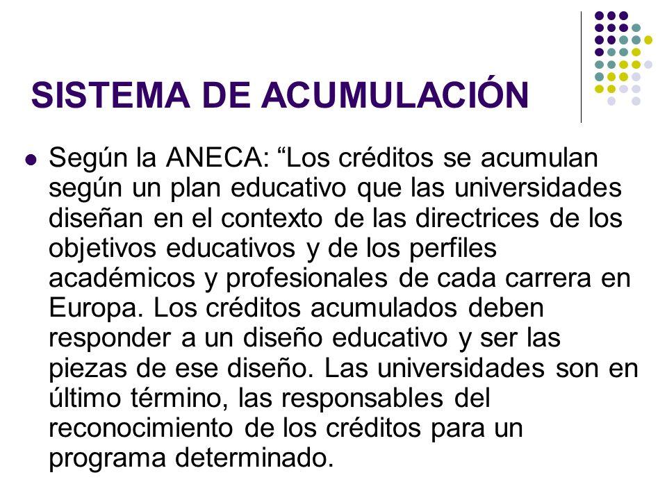 SISTEMA DE ACUMULACIÓN Según la ANECA: Los créditos se acumulan según un plan educativo que las universidades diseñan en el contexto de las directrices de los objetivos educativos y de los perfiles académicos y profesionales de cada carrera en Europa.