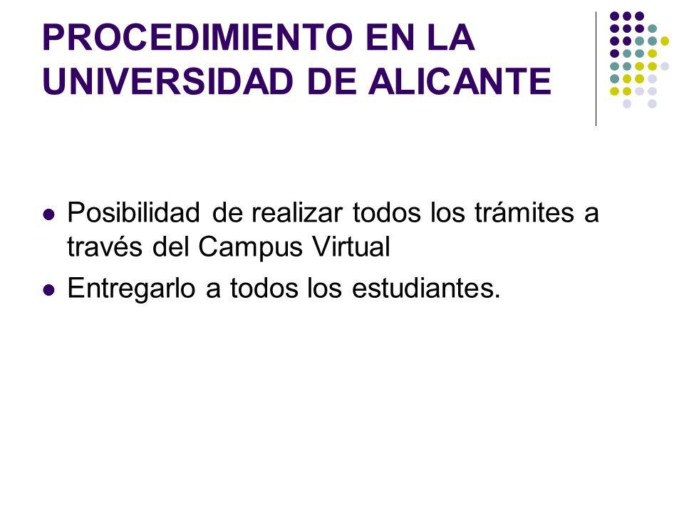 PROCEDIMIENTO EN LA UNIVERSIDAD DE ALICANTE Posibilidad de realizar todos los trámites a través del Campus Virtual Entregarlo a todos los estudiantes.