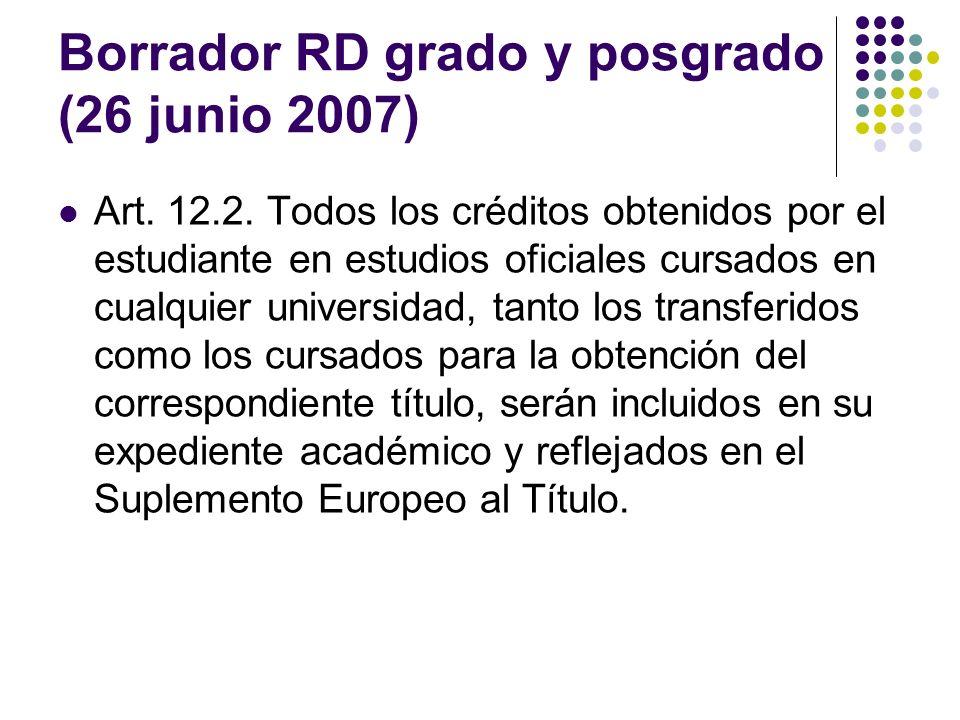Borrador RD grado y posgrado (26 junio 2007) Art.12.2.