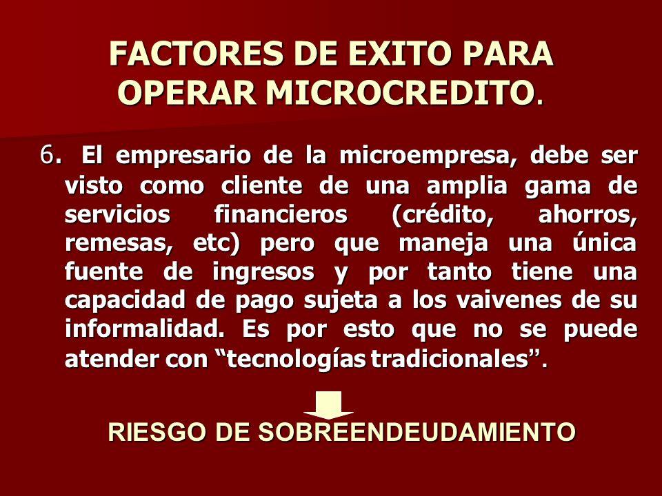 FACTORES DE EXITO PARA OPERAR MICROCREDITO. 6. El empresario de la microempresa, debe ser visto como cliente de una amplia gama de servicios financier