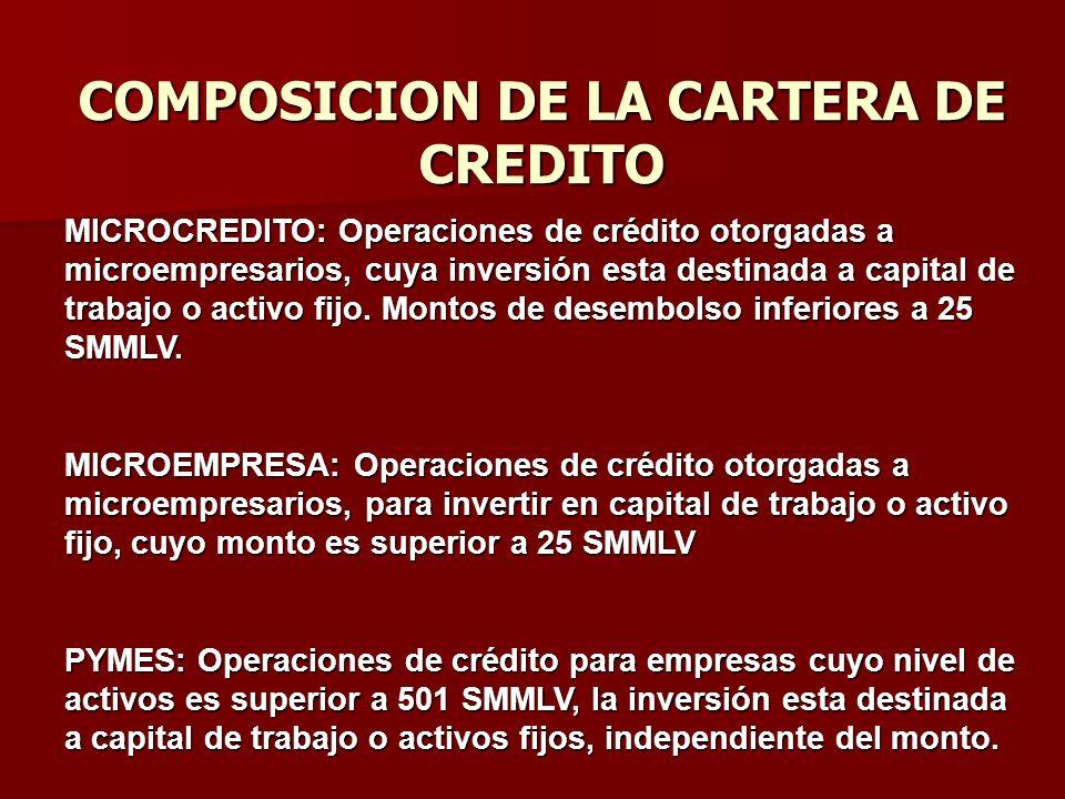 COMPOSICION DE LA CARTERA DE CREDITO MICROCREDITO: Operaciones de crédito otorgadas a microempresarios, cuya inversión esta destinada a capital de tra