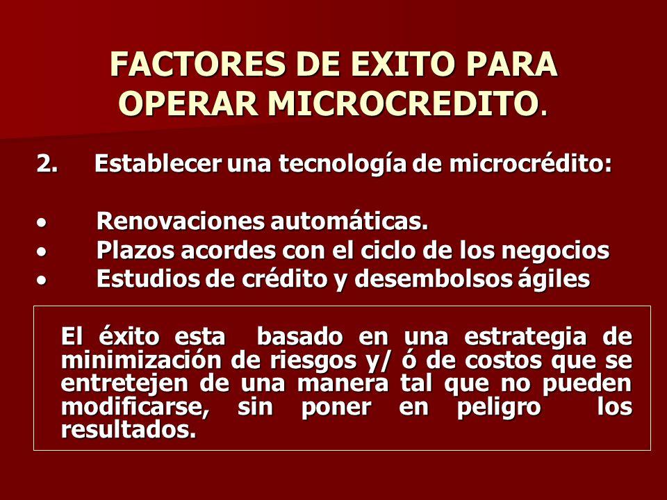 FACTORES DE EXITO PARA OPERAR MICROCREDITO. 2. Establecer una tecnología de microcrédito: Renovaciones automáticas. Renovaciones automáticas. Plazos a