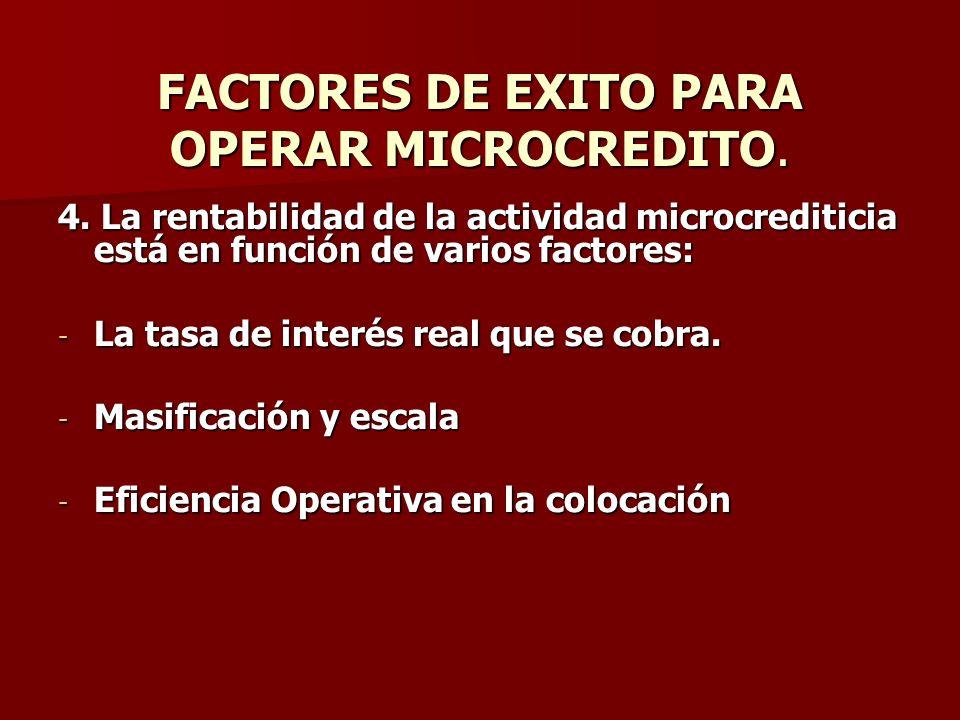 FACTORES DE EXITO PARA OPERAR MICROCREDITO. 4. La rentabilidad de la actividad microcrediticia está en función de varios factores: - La tasa de interé