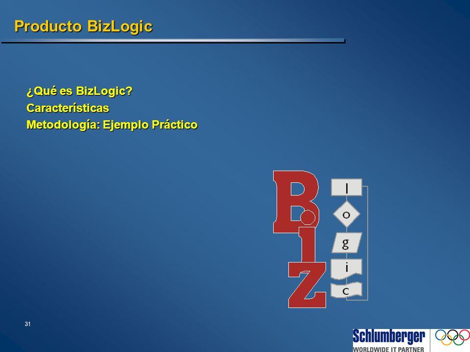 31 Producto BizLogic ¿Qué es BizLogic? Características Metodología: Ejemplo Práctico