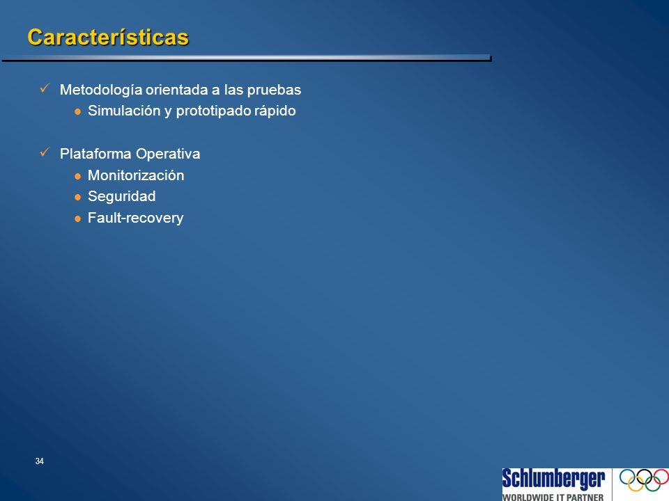 34 Características Metodología orientada a las pruebas Simulación y prototipado rápido Plataforma Operativa Monitorización Seguridad Fault-recovery
