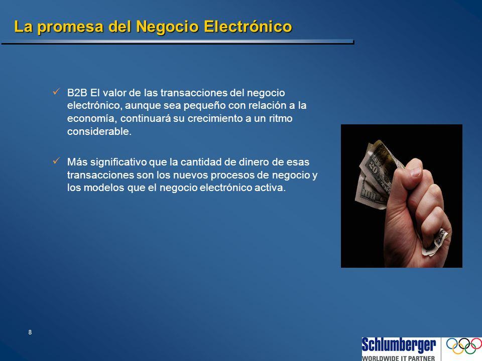 8 La promesa del Negocio Electrónico B2B El valor de las transacciones del negocio electrónico, aunque sea pequeño con relación a la economía, continu