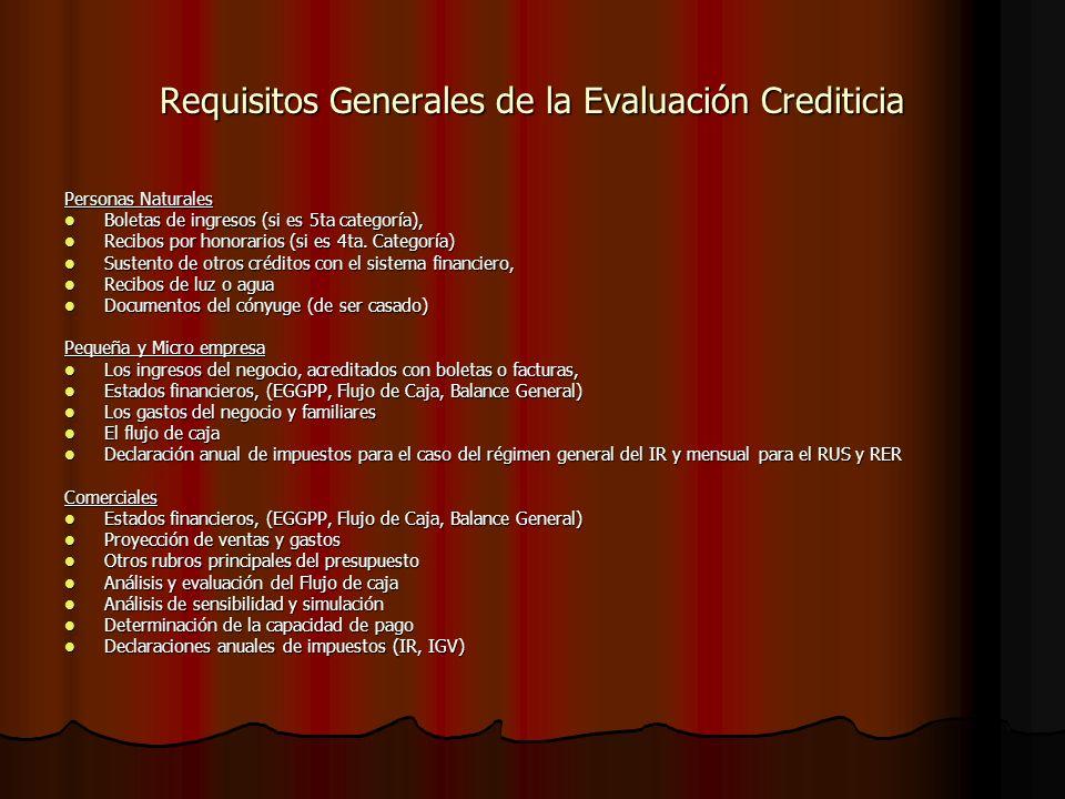 Requisitos Generales de la Evaluación Crediticia Personas Naturales Boletas de ingresos (si es 5ta categoría), Boletas de ingresos (si es 5ta categoría), Recibos por honorarios (si es 4ta.