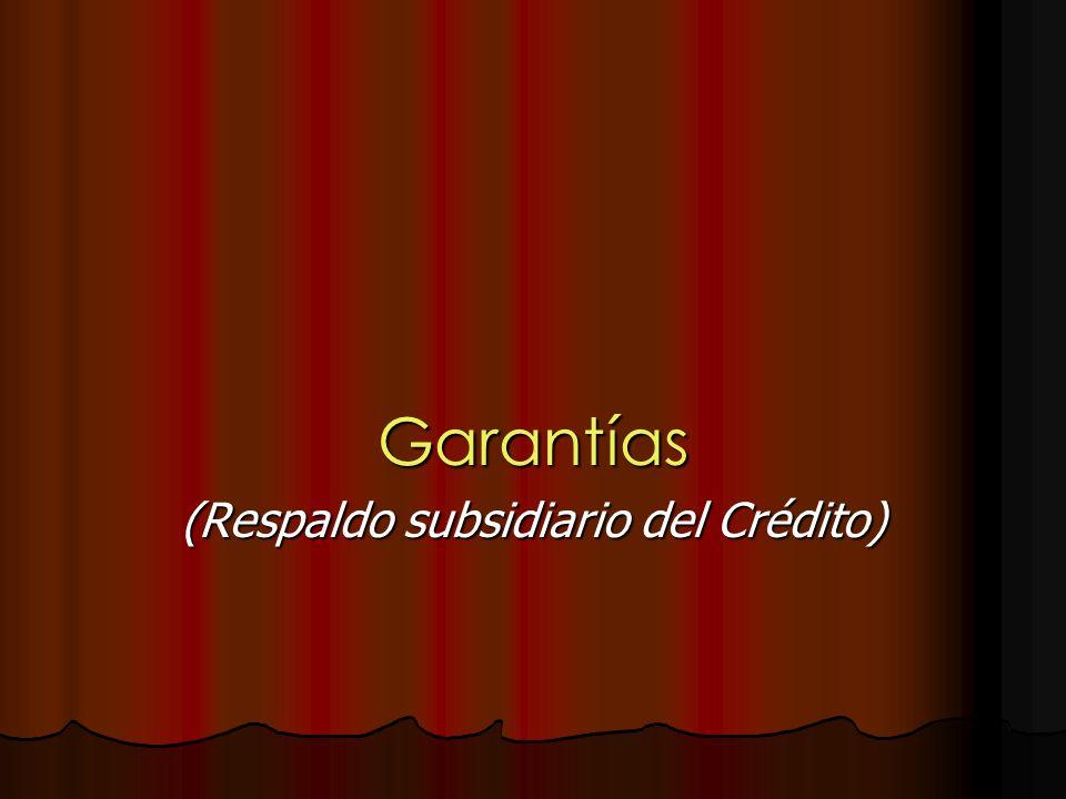 Garantías (Respaldo subsidiario del Crédito)