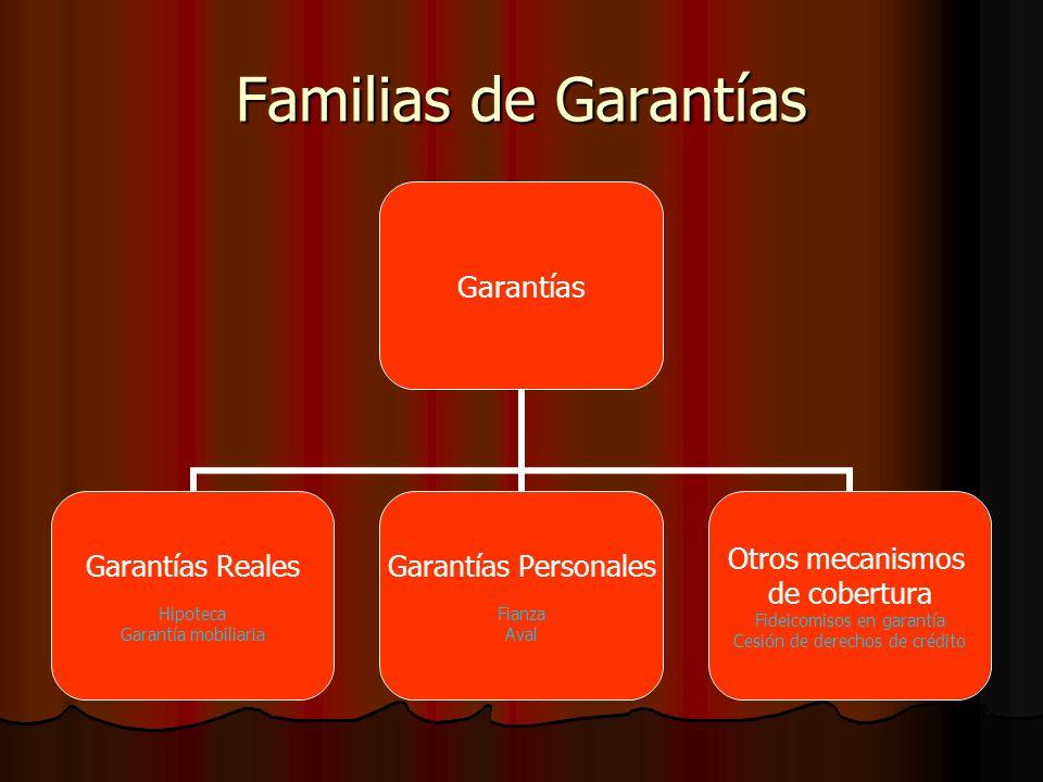 Familias de Garantías Garantías Garantías Reales Hipoteca Garantía mobiliaria Garantías Personales Fianza Aval Otros mecanismos de cobertura Fideicomisos en garantía Cesión de derechos de crédito