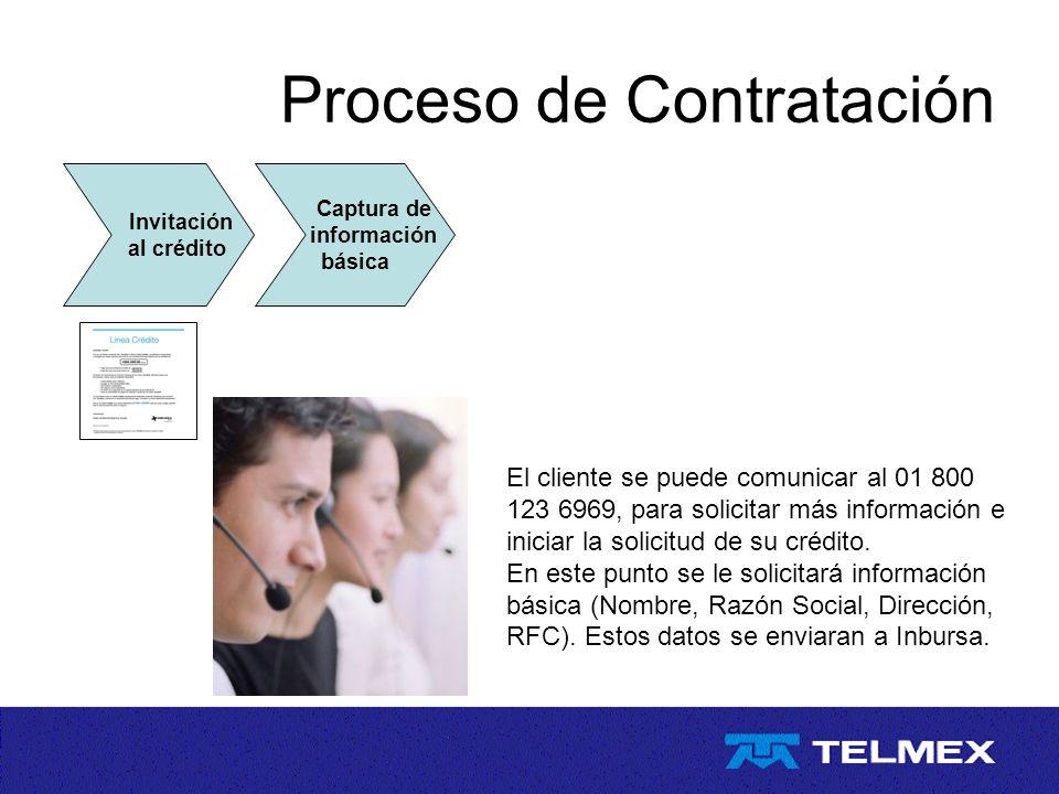 Proceso de Contratación Invitación al crédito El cliente se puede comunicar al 01 800 123 6969, para solicitar más información e iniciar la solicitud