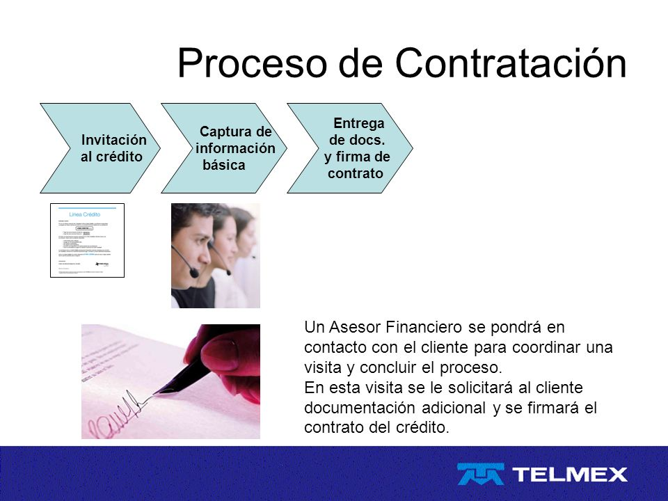 Proceso de Contratación Invitación al crédito Captura de información básica Entrega de docs. y firma de contrato Un Asesor Financiero se pondrá en con