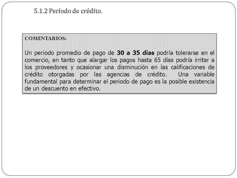 5.1.2 Período de crédito. COMENTARIOS: Un periodo promedio de pago de 30 a 35 días podría tolerarse en el comercio, en tanto que alargar los pagos has