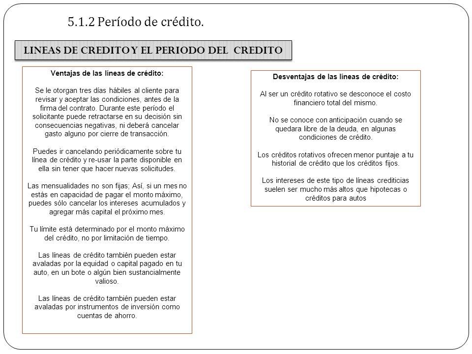 5.1.2 Período de crédito. LINEAS DE CREDITO Y EL PERIODO DEL CREDITO Ventajas de las líneas de crédito: Se le otorgan tres días hábiles al cliente par