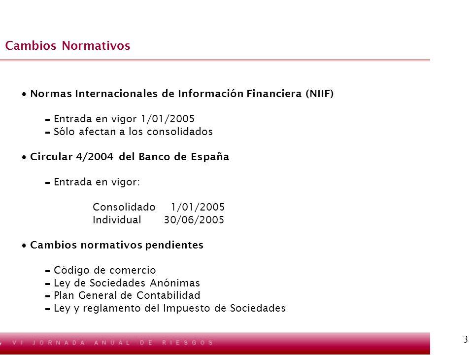 3 Cambios Normativos Normas Internacionales de Información Financiera (NIIF) - Entrada en vigor 1/01/2005 - Sólo afectan a los consolidados Circular 4