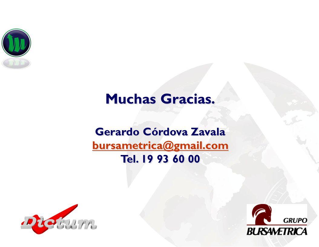 Muchas Gracias. Gerardo Córdova Zavala bursametrica@gmail.com Tel. 19 93 60 00 Muchas Gracias. Gerardo Córdova Zavala bursametrica@gmail.com Tel. 19 9