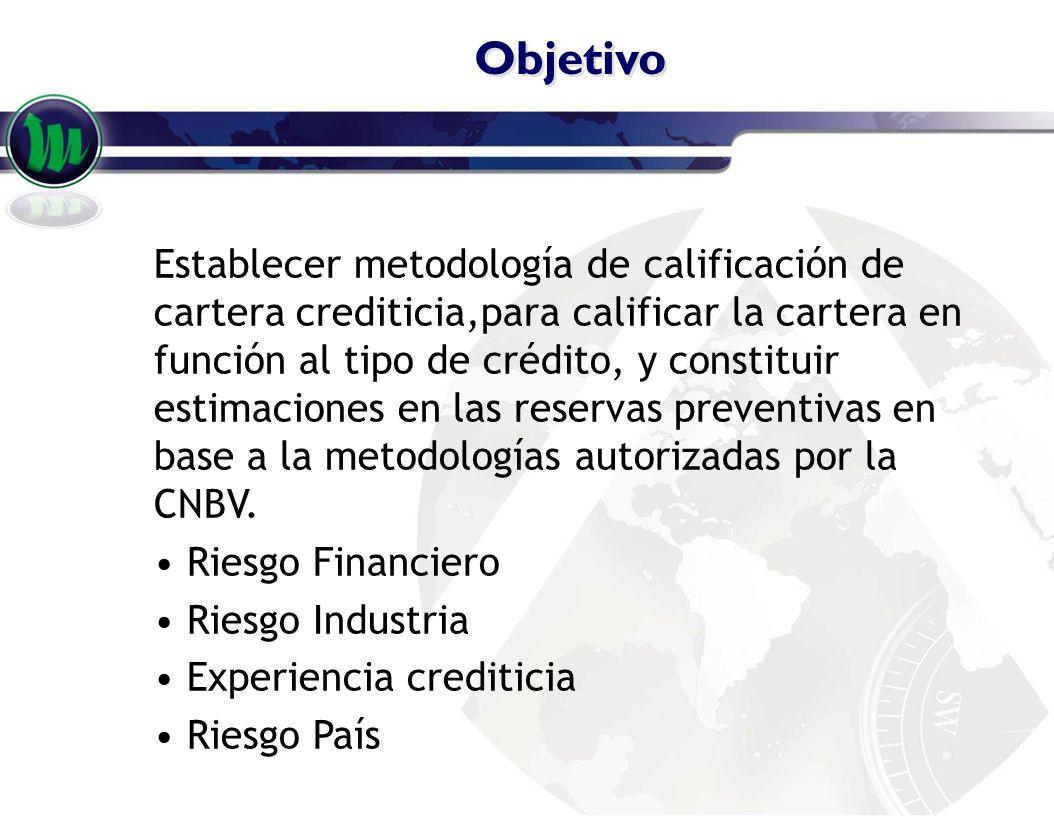 Objetivo Establecer metodología de calificación de cartera crediticia,para calificar la cartera en función al tipo de crédito, y constituir estimacion